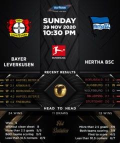 Bayer Leverkusen vs  Hertha BSC 29/11/20