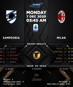 Sampdoria vs AC Milan 07/12/20